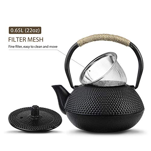WICHEMI Tea Kettle Japanese Cast Iron Teapot Vintage Tetsubin Tea Kettle with Stainless Steel Infuser and Insulation Handle for Home Kitchen, Hotel, Restaurant and Office (650ml/22 Oz)