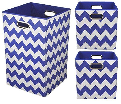 Modern Littles 3 Piece Folding Storage Set: 1 Laundry Hamper and 2 Storage Bins - Blue Chevron