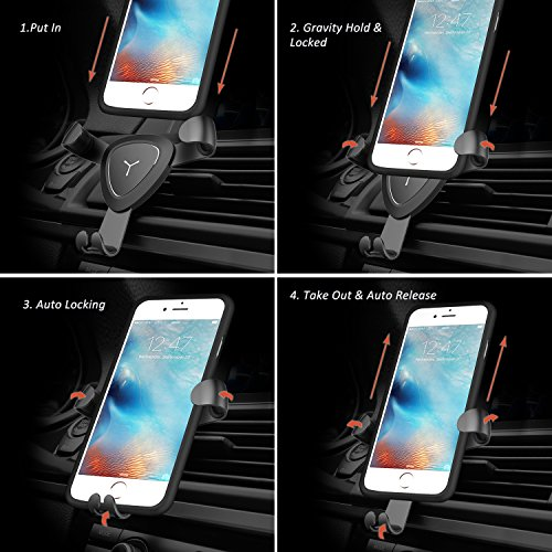 good Cell Phone Holder for Car , Universal Air Vent Phone Holder Cradle Smart No Touch Design for iPhone X 8 7 Plus 6s Plus 6s 5s 5c Samsung Galaxy S8 Edge S7 S6 Note 5 and All Smartphones 3.5-6.0 inch