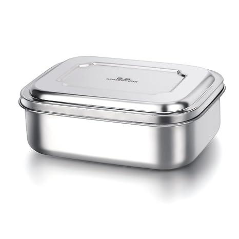 GA Homefavor Lunch Box Fiambrera para la comida de acero inoxidable con tres compartimentos de pequeña tamaño