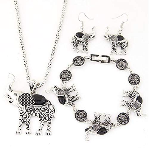 Earrings Set Lariat - Gbell Clearance! Women Vintage Elephant Pendant Necklace Drop Earrings Bracelet Jewelry Set for Teen Girls Ladies Party Ball Jewelry Statement Gift