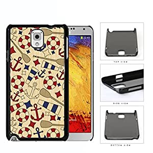 Nautical Anchor Sailor Wooden Pattern [Samsung Galaxy Note III 3 N9000] Hard Snap on Plastic Cell Phone Cover