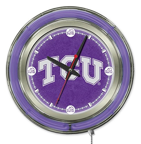 Holland Bar Stool Company NCAA TCU Horned Frogs Double Neon Ring 15-Inch Diameter Logo Clock ()
