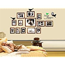 Fange DIY Removable Sweet Memory Quotes 13 Brown Photo Picture Frames Collage Birds Tree Branch Leaf Art Mural Vinyl Waterproof Wall Stickers Living Room Decor Decal Sticker 35.4''x23.6''