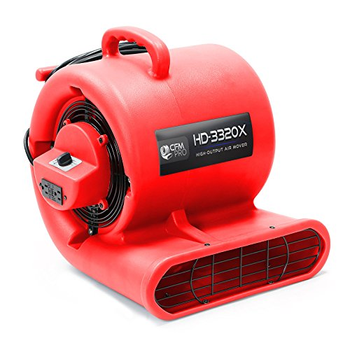 Air Mover 3 Speed 1/3 HP Blower Fan with 2 GFCI Outlets - In