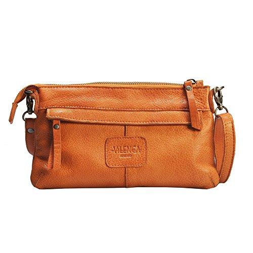 """Vilenca """"40679 Arancione"""" Signore borsa a tracolla, borsa di cuoio per le donne, Dimensioni-L24.5cmxH15cmxB3cm"""