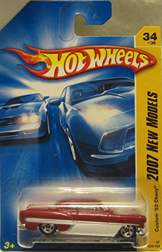 Hot Wheels 2007 New Models -#34 Custom 53 Chevy Red and White #2007-34 Collectible Collector Car 2007