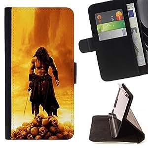 Momo Phone Case / Flip Funda de Cuero Case Cover - Del guerrero del cráneo;;;;;;;; - Samsung ALPHA G850