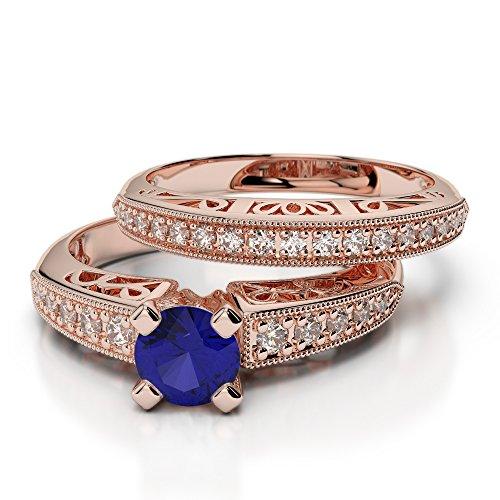 Or Rose 18carats 1/2ct G-H/VS sertie de diamants ronds Cut Saphir et mariée Bague de fiançailles et ensemble de Agdr-1160