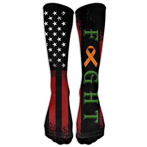 Fight Leukemia Cancer Awareness Unisex Casual Sock Knee Long High Breathable Socks Sport Crew Socks One -