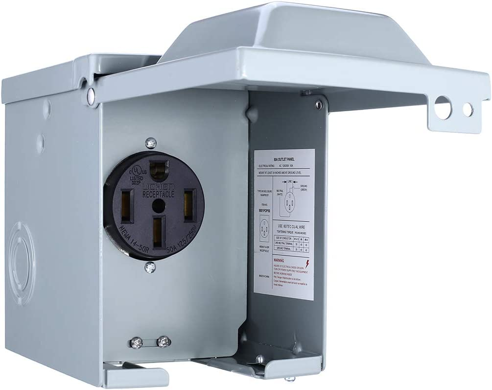 Miady 50 Amp 125/250 Volt RV Power Outlet Box, Enclosed Lockable Weatherproof Outdoor Electrical NEMA 14-50R Receptacle Panel, For RV Camper Travel Trailer Motorhome Electric Car Generator.