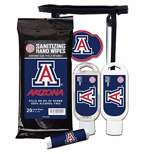 Worthy Promotional NCAA Arizona Wildcats 4-Piece Premium Gift Set with SPF 15 Lip Balm, Sanitizer, Wipes, Sunscreen