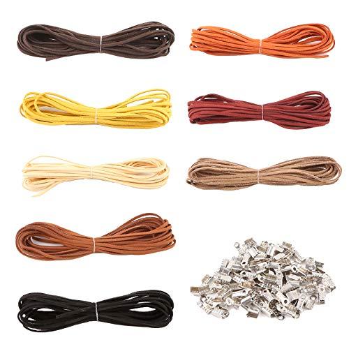VGOODALL 8 Stück 5M x 3mm Lederband, 40M 8 Farben Lederschnur Faden Faux Wildleder Schnur für DIY Armband Halskette Perlen Schmuck Handgefertigte Handwerk