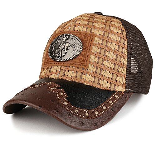 Trendy Apparel Shop Straw Design Metallic Rodeo Cowboy Horse Logo Trucker Mesh Baseball Cap - Dark TAN Brown