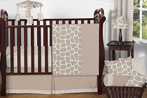 Lamp Giraffe Infant (Sweet Jojo Designs 11-Piece Modern Animal Giraffe Print Neutral Baby Boy Girl Unisex Bedding Crib Set Without Bumper)