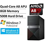 2016 NEW Dell Vostro High Performance Business Desktop, AMD Quad-Core A8 Processor up to 3.8GHz, 8GB DDR3, 500GB HDD, DVD Drive, Radeon R7 Graphics, Keyboard/Mouse Included, Windows 7/8.1 Professional