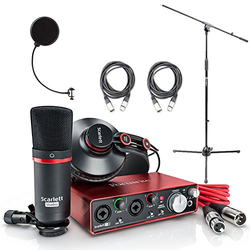 Focusrite Scarlett 2i2 Studio Pack & Recording Bundle - 2nd Gen w/ Pro Tools, Includes,Universal Pop Filter Microphone Wind Screen,10' Premier Series XLR Male-XLR Female 16AWG Cable&Microphone Stand