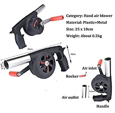 Fbest Outdoor Cooking BBQ Fan Air Blower For Barbecue Fire Bellows Hand Crank Tool for Picnic Camping stove accessories