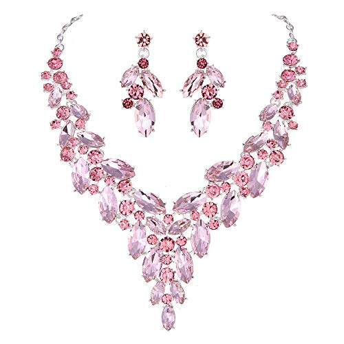 Modbridal Formal/Ball/Prom/Cocktail/Evening/Event Party Rhinestone Necklace and Earrings Jewelry Sets for Wedding Dress ()