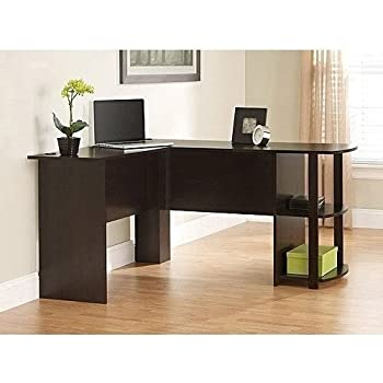 Dark Cherry Or Black Ash L Shaped Computer Laptop Desk With Side Storage  For Your Home