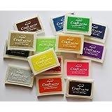 Set 15 Pcs Craft Ink Pad Korea Stamps Partner Diy Color,15 Color Rubber Stamps Craft Ink Pad for Paper Fabric Wood