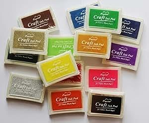 DTOL Set 15 Pcs Craft Ink Pad Korea Stamps Partner Diy Color,15 Color Rubber Stamps Craft Ink Pad for Paper Fabric Wood