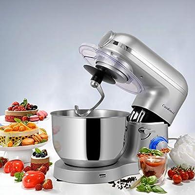 Cookmii 1800W Robot de Cocina Multifunción 3-En-1, Batidora Amasadora Reposteria, Picadora, Batidora de Vaso,con Un Tazón De Acero Inoxidable, 5.5L, Plata: Amazon.es
