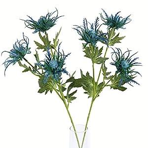 Jasming Artificial Eryngiums Blue Eryngium Faux Plants Wedding Bouquet Centerpiece Home Decor Blue Star Greenery 94