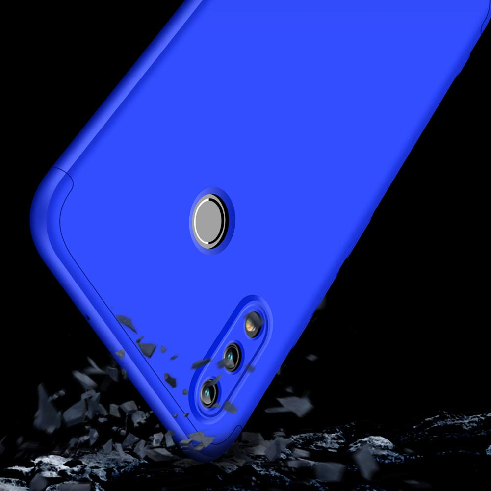 Karomenic kompatibel mit Huawei P Smart 2019 360 Grad H/ülle Panzerglas 3 in 1 Hart PC Schutzh/ülle Full Body Rundumschutz Sto/ßfest Ganzk/örper Bumper Handyh/ülle Hardcase Cover,Blau Schwarz
