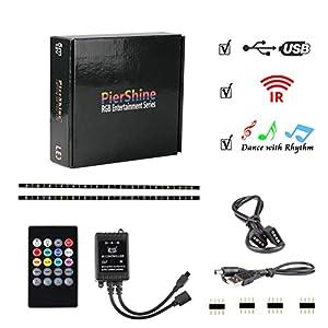 PierShine 3.28ft 1m Economic 5V USB RGB LED Strip Lights for TV, Desktop, Car, with 24 Keys Remote Control and Sound Sense Receiver, Dance with Music