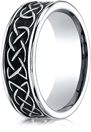 Benchmark Cobaltchrome 7mm Comfort-Fit Celtic Knot Wedding Band Ring, Size 10 - Tiffany Knot Ring