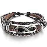 INBLUE Men,Women's Alloy Genuine Leather Bracelet Bangle Cuff Silver Tone Brown Love Infinity Symbol Surfer Wrap Tribal Adjustable