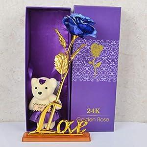 Promisen 24K Gold Foil Rose Artificial Flowers Long Stem Gold Foil Rose Upscale Immortal Flowers Birthday Gift /Valentine Gift / Wedding Gift/Home Decor (Bear+Love Base) (C) 83