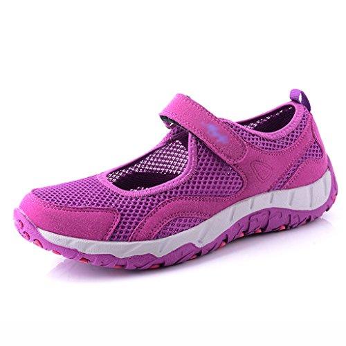 Zapatos para mujer HWF Mamá Zapatos Deportivos Ancianos de Mediana Edad Transpirable Suave Inferior Cómodo Mujeres Verano para Caminar (Color : Rojo, Tamaño : 35) Purple