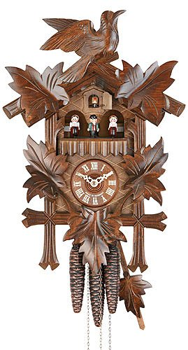 - German Cuckoo Clock 1-day-movement Carved-Style 16.00 inch - Authentic black forest cuckoo clock by Hekas