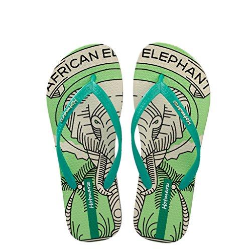 Hotmarzz Chanclas para Mujer Elefante Sandalias Playa Verano Casa Ducha Piscina Flip Flops Verde