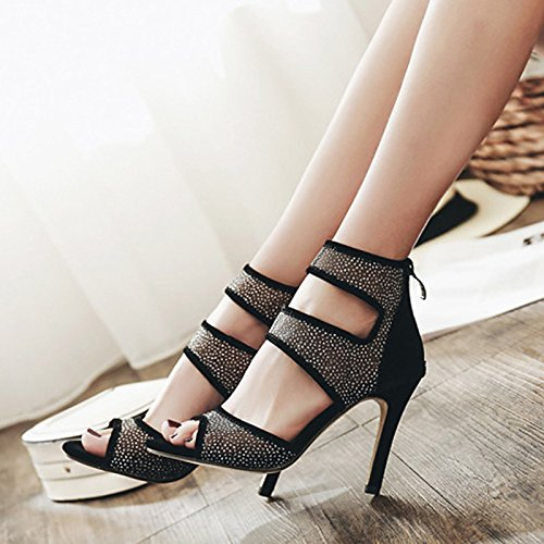 Piel para Mujer Novedad Bodas Moda CN39 Negro Sandalias sintética UK6 Verano de UE39 Botas de Casual Zapatos ZHZNVX Stiletto Talón Negro Primavera Comodidad US8 8EPwwq