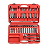 TEKTON 1/2-Inch Drive Socket Set, Inch/Metric, 6-Point, 3/8-Inch - 1-Inch, 10 mm - 24 mm, 58-Piece | 13201