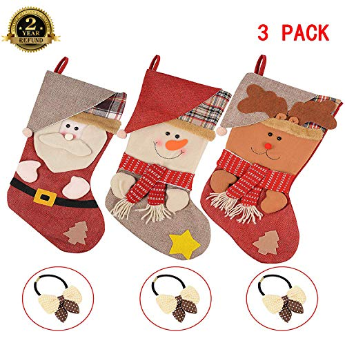 CORNMI 3 Pack Christmas Stockings 3D Stocking Socks Santa Snowman Reindeer Xmas Character Plush Hanging in Xmas Tree Home Restaurant Hotel Decorations & Party Supplies (Red-Green) ()
