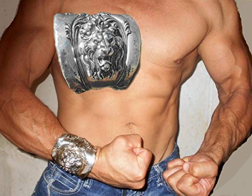 (Roaring Lion Wide Silver Plate Cuff Medieval Gladiator, Renaissance Man, He Man, Macho Man Cuff, Athlete Armor, Made From Antique)
