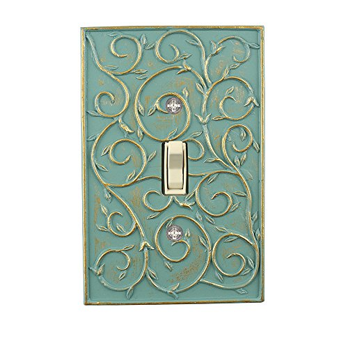 (Meriville French Scroll 1 Toggle Wallplate, Single Switch Electrical Cover Plate, Buckingham Green with)