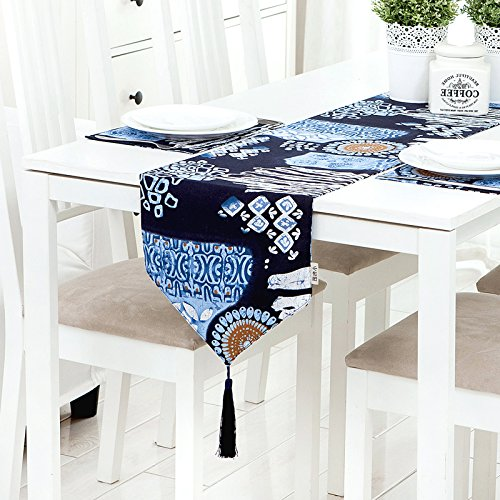 RUGAI-UE Table Runnerretro Desk Mat Folk Blue And White Cotton Fabric Double Exotic Classical Table Mats Wallpaper'S Bed The Blue And White Flags 30×200Cm