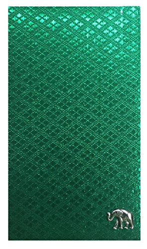 Check Registers Green Thai Fabric Guest Check Presenter, Check Book Holder for Restaurant, Checkbook Cover, Waitstaff Organizer, Server Book for Waiters with Money Pocket (With Plastic Cover) by Kathy