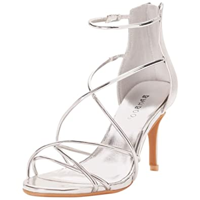 Amazon.com | Mirror Metallic Strappy Heels Style HARLEEN61S ...