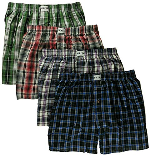 Picopi Men's 4-Pack 100% Cotton Woven Tartan Boxers (Boxer Classic Mens Plaid)