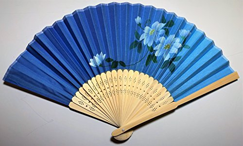 Daiso Japanese Folding Fan (Sensu): Handheld fan: Clematis paintings blue background