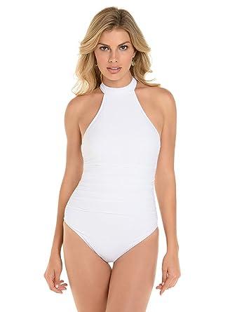 6ea4631a3c4 Magicsuit Women's Ursula High Neck Racerback One Piece Swimsuit White 8