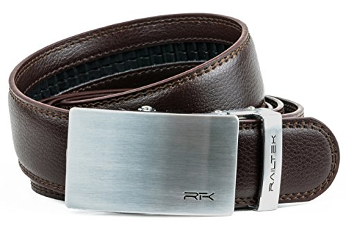 Railtek Belts Men's Leather Ratchet Belt - Brushed Steel Dark Brown Leather
