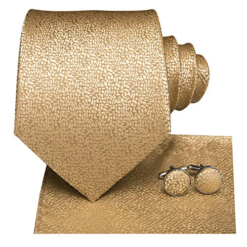 Dubulle Mens Gold Tie and Pocket Square Woven Silk Necktie Set with - Necktie Handkerchief Color Gold