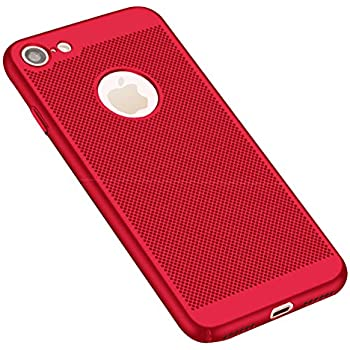 GerTong iPhone 6Plus 6sPlus Breathing Case, PC Mesh Design Ultra Slim Thin Breathable Cooling Heat Release Protective Shockproof Back Covers Shell for Apple iPhone 6Plus / 6s Plus, 5.5 Inch(Red)